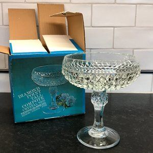 NIB Indiana Glass Diamond Pointe Tall Compote